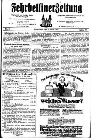 Fehrbelliner Zeitung vom 01.05.1926
