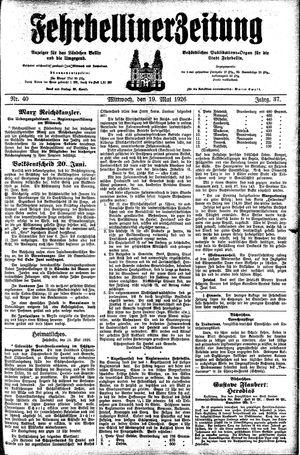 Fehrbelliner Zeitung vom 19.05.1926
