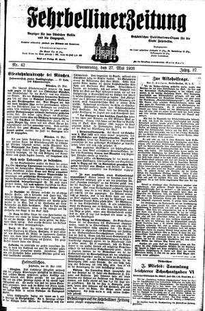 Fehrbelliner Zeitung vom 27.05.1926
