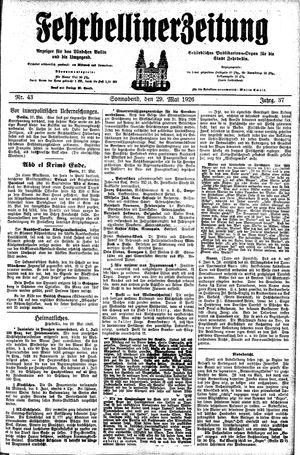 Fehrbelliner Zeitung vom 29.05.1926