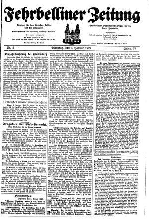Fehrbelliner Zeitung vom 04.01.1927