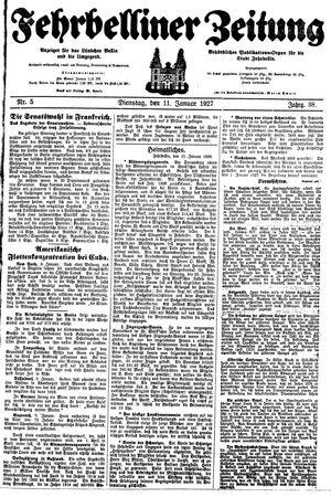 Fehrbelliner Zeitung vom 11.01.1927