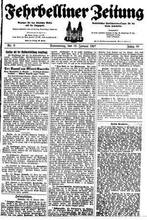 Fehrbelliner Zeitung vom 13.01.1927