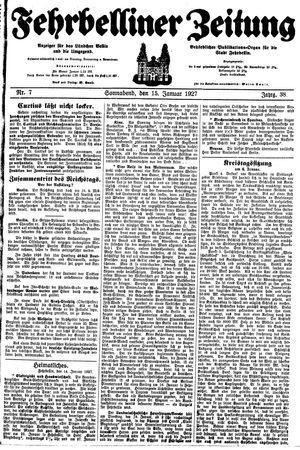 Fehrbelliner Zeitung vom 15.01.1927