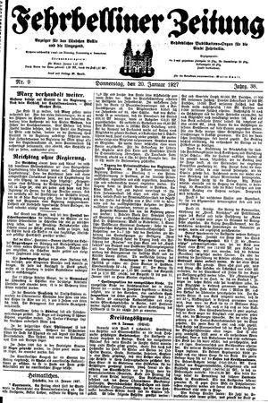 Fehrbelliner Zeitung vom 20.01.1927