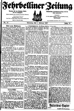Fehrbelliner Zeitung vom 01.02.1927