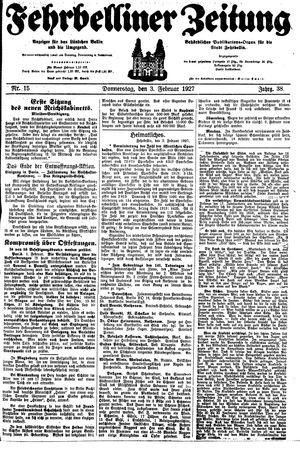 Fehrbelliner Zeitung vom 03.02.1927