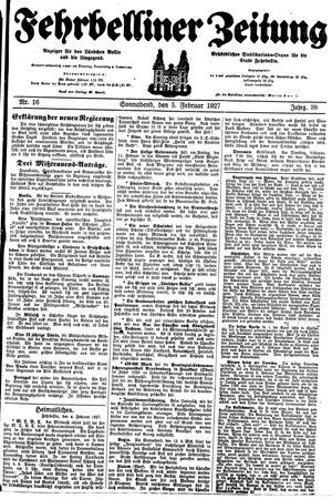 Fehrbelliner Zeitung vom 05.02.1927