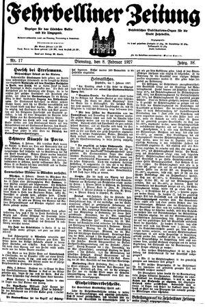 Fehrbelliner Zeitung vom 08.02.1927