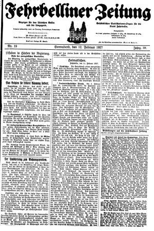 Fehrbelliner Zeitung vom 12.02.1927