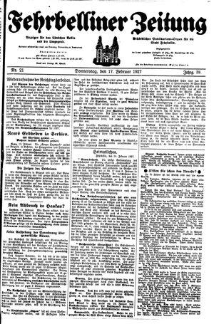 Fehrbelliner Zeitung vom 17.02.1927