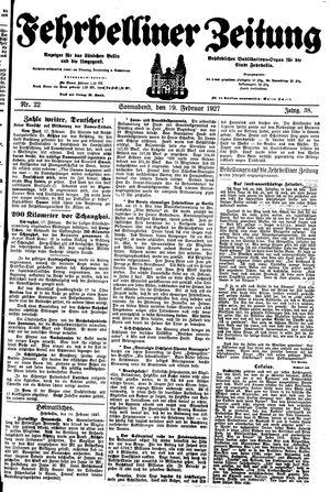 Fehrbelliner Zeitung vom 19.02.1927
