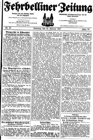 Fehrbelliner Zeitung vom 22.02.1927