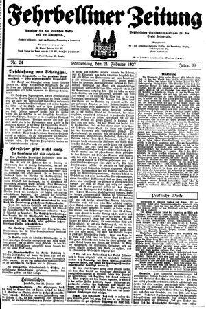 Fehrbelliner Zeitung vom 24.02.1927