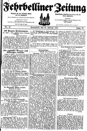 Fehrbelliner Zeitung vom 26.02.1927