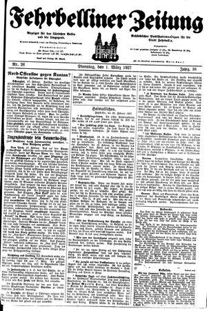 Fehrbelliner Zeitung vom 01.03.1927