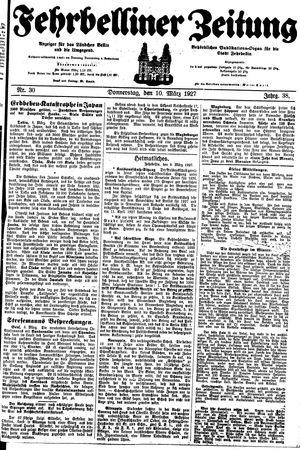 Fehrbelliner Zeitung vom 10.03.1927