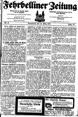 Fehrbelliner Zeitung vom 12.03.1927