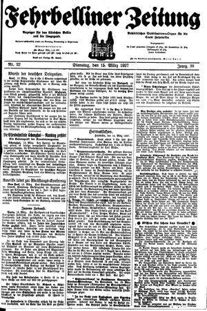 Fehrbelliner Zeitung vom 15.03.1927