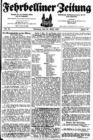 Fehrbelliner Zeitung vom 22.03.1927