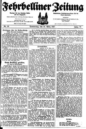 Fehrbelliner Zeitung vom 24.03.1927