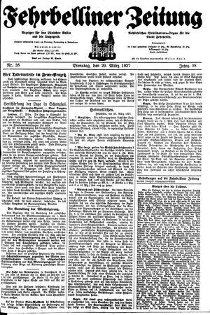 Fehrbelliner Zeitung vom 29.03.1927