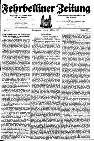Fehrbelliner Zeitung vom 31.03.1927