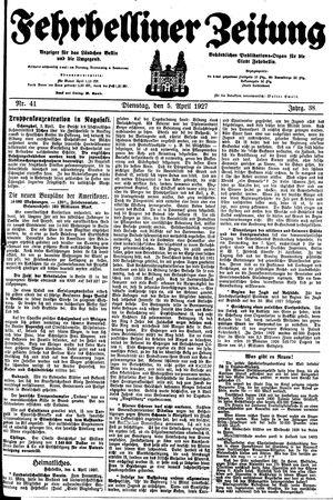 Fehrbelliner Zeitung vom 05.04.1927