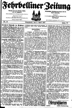 Fehrbelliner Zeitung vom 09.04.1927