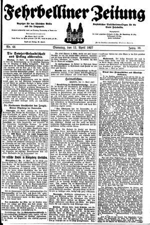 Fehrbelliner Zeitung vom 12.04.1927