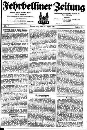 Fehrbelliner Zeitung vom 21.04.1927
