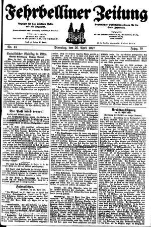 Fehrbelliner Zeitung vom 26.04.1927