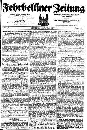 Fehrbelliner Zeitung vom 07.05.1927