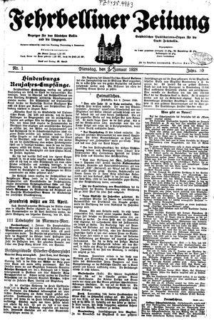 Fehrbelliner Zeitung vom 03.01.1928