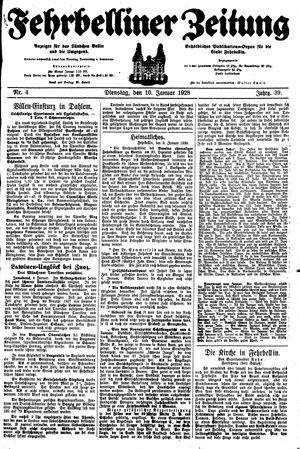 Fehrbelliner Zeitung vom 10.01.1928