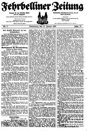 Fehrbelliner Zeitung on Jan 12, 1928