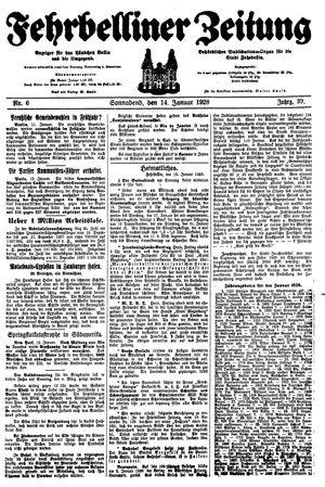 Fehrbelliner Zeitung vom 14.01.1928