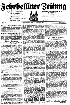 Fehrbelliner Zeitung vom 21.01.1928