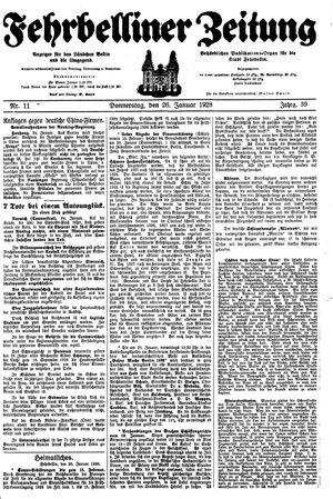 Fehrbelliner Zeitung vom 26.01.1928