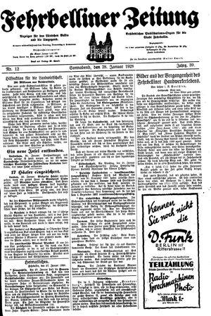 Fehrbelliner Zeitung vom 28.01.1928