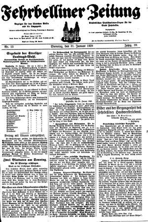 Fehrbelliner Zeitung vom 31.01.1928
