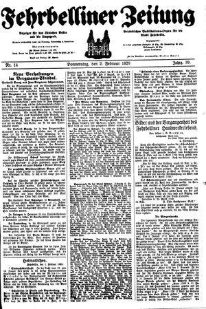 Fehrbelliner Zeitung vom 02.02.1928