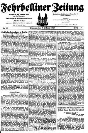 Fehrbelliner Zeitung vom 07.02.1928