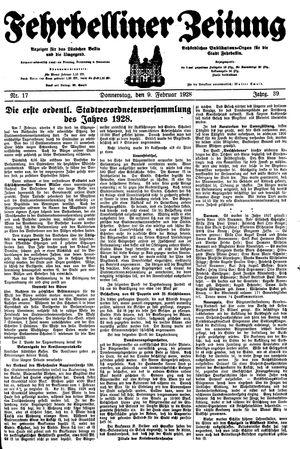Fehrbelliner Zeitung vom 09.02.1928