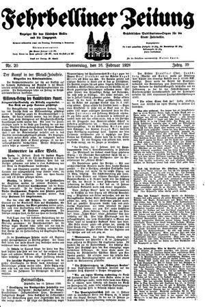 Fehrbelliner Zeitung vom 16.02.1928