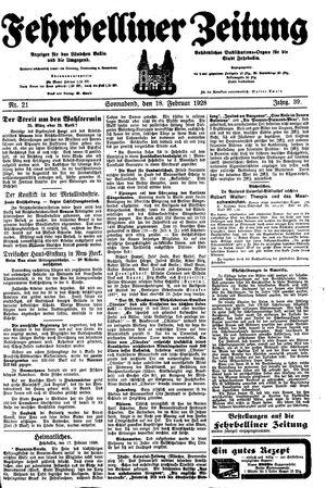 Fehrbelliner Zeitung vom 18.02.1928