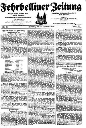 Fehrbelliner Zeitung vom 21.02.1928