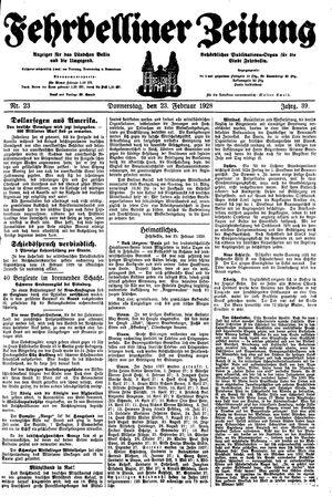 Fehrbelliner Zeitung vom 23.02.1928