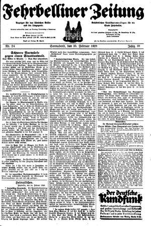 Fehrbelliner Zeitung on Feb 25, 1928
