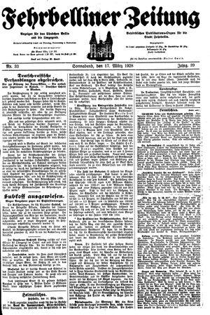 Fehrbelliner Zeitung vom 17.03.1928